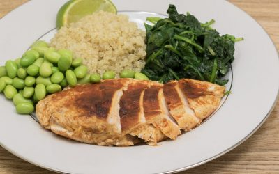 Smoked Paprika Chicken with Quinoa, Spinach and Edamame Beans