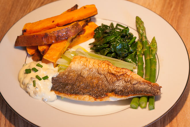 Sea Bass and Healthy Chips